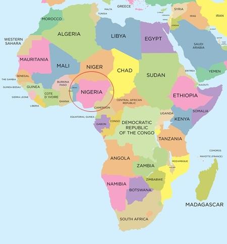 アフリカ西部に位置するナイジェリア